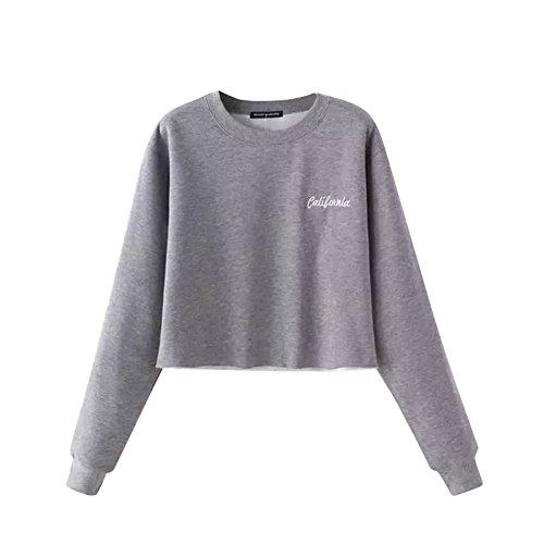 ROMANTIC BEAR Women Long Sleeve Jumper Cropped Sweatshirt Black/Gray