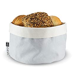 HEYNNA ® Brotkorb Stoff - Brötchenkorb als Aufbewahrung von Brot, Brötchen und Gebäck - 100% Baumwolle rund 20cm Ø (grau/Creme)
