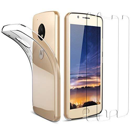 Dexnor 2 Stück Motorola Moto G5 Panzerglas Glas Folie Schutzfolie 9H 3D Bildschirmschutzfolie Moto G5 Hülle Silikon Ultra Slim Transparent Durchsichtig Schutzhülle Handytasche Rückseite Schale