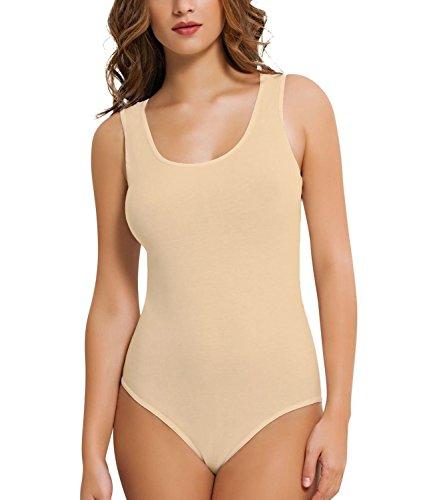 (Damen Body- Achselhemd- Unterhemd- T- Shirt -Baumwolle-- Qualität (N-262)(L, beige))
