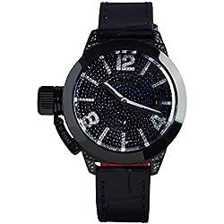U-Boat Classico 40IPB Pave Diamond Reloj Automático de mujer con negro esfera analógica pantalla y correa Color Negro 6978.0