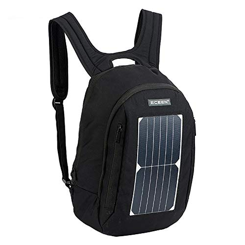 ROWERR Solar Backpack-Waterproof Anti-Theft Solar Power Fast Charging Camping & Hiking Daypack mit 5W Solar Panel Charger für Smart Cell Phones und Tablets, GPS, Powerbank, Bluetooth Speakers