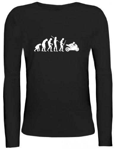 Shirtstreet24, EVOLUTION MOTORRAD, Bike Sport Lady / Girlie Longsleeve Langarm T-Shirt, Größe: XL,schwarz