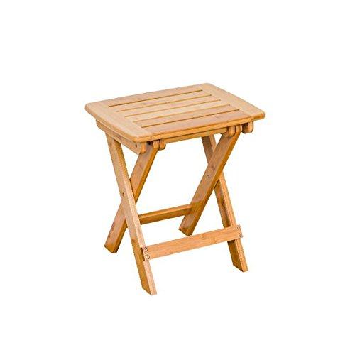 Chaises pliantes CJC Portable Bambou Tabouret Imperméable Étape Tabouret Douche Ensemble Pied Pliant Tabouret Pique-Nique Pêche (Couleur : Wood Color 34.5cm)