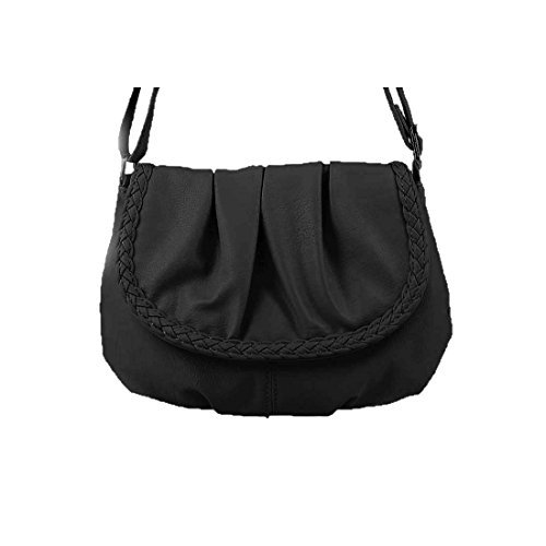 OBC kleine Damen Tasche Umhängetasche Schultertasche Handtasche Clutch Schwarz (Handtasche Stoff Damen Tasche)