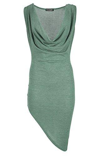 Damen Partykleid Rollkragen Seite Neigung Trendy Dehnbar Ärmellos Drapiert V-ausschnitt Pullover Pullover Top - Khaki, X-Large / DE 42 (Ärmelloses Drapiertes, Top)