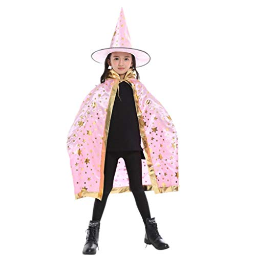 IZHH Kinder Jungen Mädchen Neuheit Feenhafte Nymphe Pixie Halloween Cosplay Karneval Zubehör Weihnachten Cosplay Kostüm Zusatz, Gedruckt Hexe Magischer Zauberer Umhang Cape Schal Wrap Robe + Hut-Set -