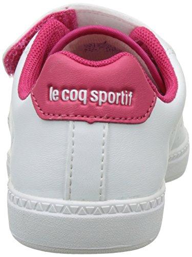 Le Coq Sportif Courtone Ps S, Basses Mixte Enfant Blanc (Optical White/Rose R)