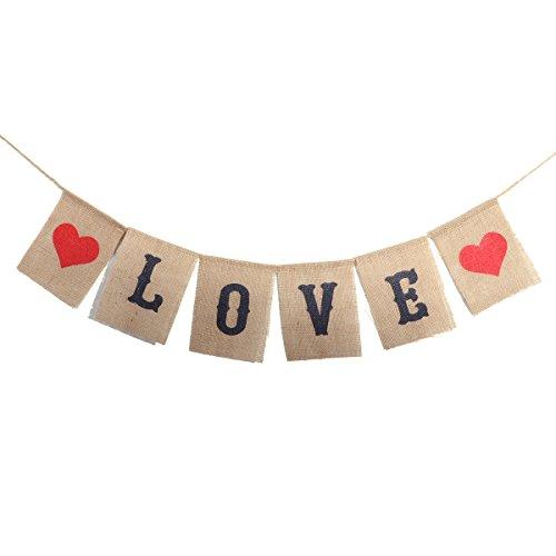 (luoem Love Jute Banner Schild Valentinstag Girlande Foto Requisiten für Hochzeit Verlobung Partyzubehör)