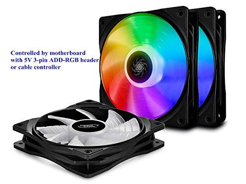 DEEP COOL CF120 3IN1 PC Gehäuselüfter, Case Fan, ARGB LED 3x120mm PWM Lüfter, 5V 3-Pin