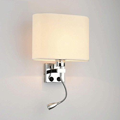 3w Single (Nachttisch Led Led Wandleuchte Stoff Modern Aisle Lights Balkon Lampe Einfache Schlafzimmer Wandleuchte Creative Lighting Ovale Kapuze - Beige Single Head (mit 3W LED Warm Light))