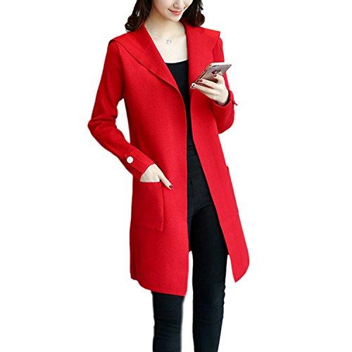 Hoodies Cardigan Femme Long en Maille Manches Longues Gilets Tricot Chandail Pull Sweaters Veste Manteaux Blouson 1