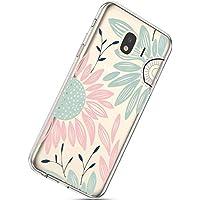 Handyhülle Samsung Galaxy J4 2018 Schutzhülle Transparent Weiche Silikon Durchsichtig Schutzhülle Muster Crystal Silikonhülle Ultradünnen TPU Handy Tasche Stoßfest Bumper Case,Sonnenblume