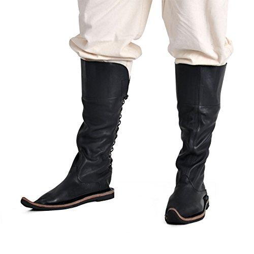 Preisvergleich Produktbild Mittelalter Stiefel Echtleder Schuhe LARP und Rollenspiel schwarz - 45