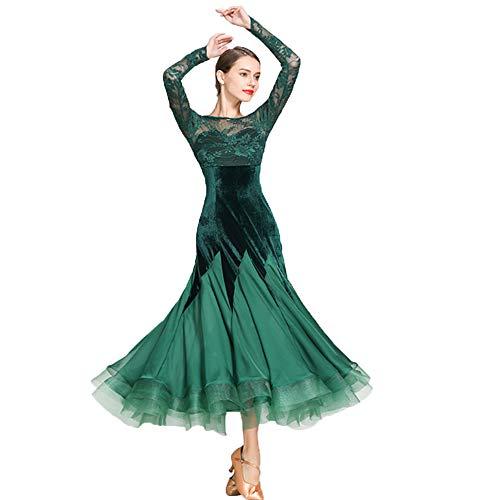 WESEAZON Latein Kleider Frauen Wettbewerb Latin-Kleider Kuganz Kleid Praxis lateinischen SymbolLife Ladies Ballroom Salsa Samba Rumba Tango eleganten grünen SizeXL 2XL,L