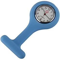 Light Blue Brooch Type Nurses Silicone Fob Watch