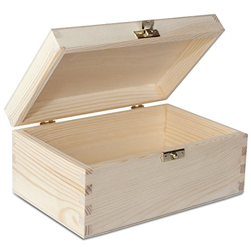 Especificación    Medidas de la caja: Tamaño externo, incluida la tapa: aprox. 21,4 x 13,8 x 10 cm (L / W / H) Tamaño interno - sin tapa: 19,5 x 12 x 7,9 cm (L / W / H) Altura interna de la tapa: aprox. 2,4 cm   Material: pino sin tratar    Calidad ...