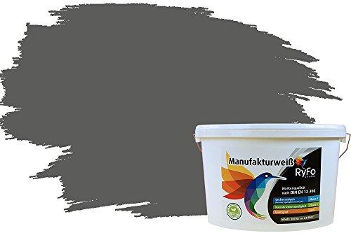 RyFo Colors Bunte Wandfarbe Manufakturweiß Dunkelgrau 10l - weitere Grau Farbtöne und Größen erhältlich, Deckkraft Klasse 1, Nassabrieb Klasse 1