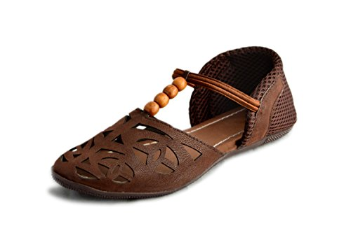 Myra Women's Laser Cut Brown Sandals - 6