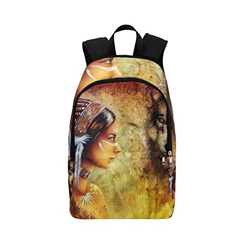 hen Mit Wolf Kopfschmuck Lässige Daypack Reisetasche College School Rucksack Für Männer Und Frauen ()