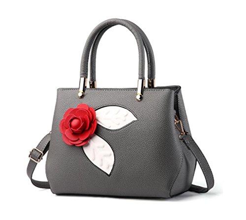 Xibeitrade piccola borsetta pelle top Handle borsetta rosa stile borsa a tracolla per donne Dark Grey