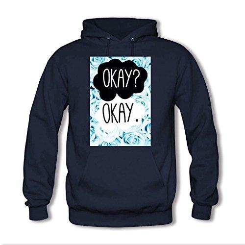 HGLee Printed Personalized Custom okay okay Classic Women Hoodie Hooded Sweatshirt Navy--1