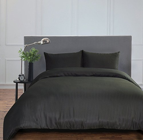 Merryfeel 2-3 teilige Satin Bettwäsche Bettgarnitur, gestreift Mikrofaser Bettbezug & Kissenbezüge,4 Größen,14 Farben - Schwarz 200x200cm
