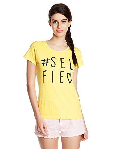 Cloth Theory Women's Graphic Print T-Shirt (TSWB18_Yellow_Small)  available at amazon for Rs.199