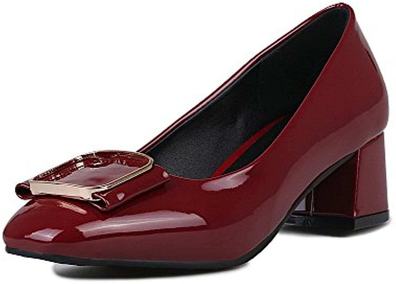 AalarDom Damen Ziehen auf Lackleder Rein Mittler Absatz Pumps Schuhe