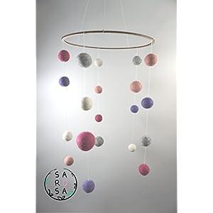Mobile Filz | Kreis Perle Kugel natur