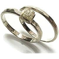 Trauringe Set aus Weißgold 14 Kt. mit Rohdiamant - handgefertigt by SILVERLOUNGE
