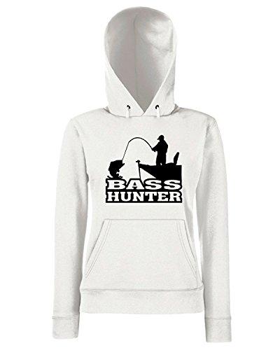 T-Shirtshock - Sweats a capuche Femme FUN0711 bass hunter vinyl fishing car decal 93652 Blanc