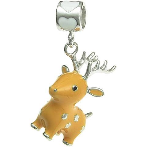 Cervo di Natale Rudolph rodio su argento Sterling 925smaltato pendente per Charm per braccialetti europei