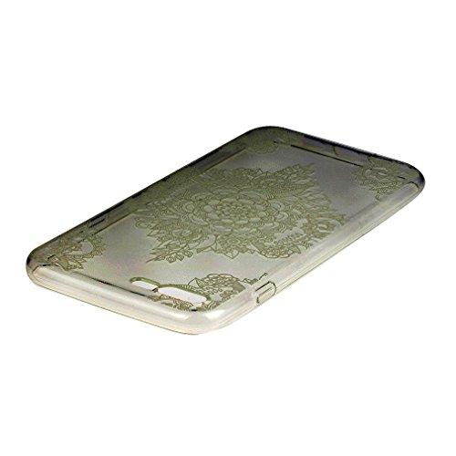 Custodia Cover per iPhone 7 Plus, Cover Silicone Morbido Trasparente Protective Case TPU Gel Ultra Sottile Cassa Protettiva Design per iPhone 7 Plus - Foglie Fortunate Modello trasparente