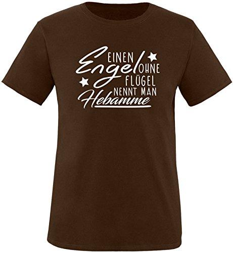 EZYshirt® Ein Engel ohne Flügel nennt man Hebamme Herren Rundhals T-Shirt Braun/Weiss