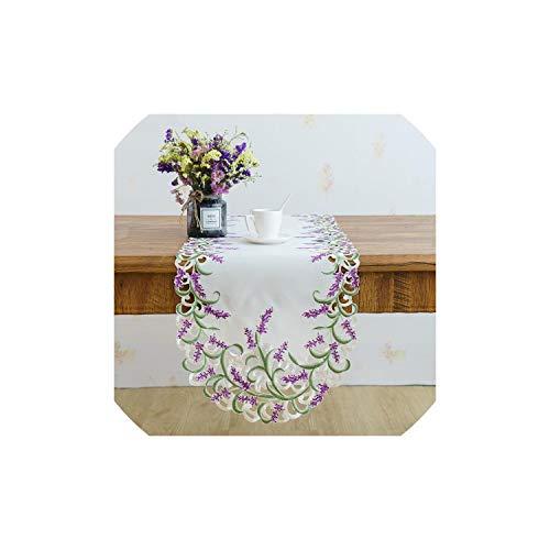 Gezellig Vesper Table Runner Beige Farbe Handgemachte Satin Cutwork gestickter Lavendel Lila Oval Tischläufer, Cutwork, 40 * 90cm, Lavendel Stickerei
