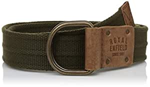 "Royal Enfield Olive & Tan Treated Leather Belt Length 34"" (RLCBEI000018)"