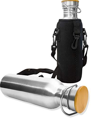 Outdoor Saxx® - Edel-Stahl Flasche | Trink-Flasche Bottle, Milch-Flasche, Große Öffnung, Retro Design, BPA frei, unzerbrechlich, 750ml | Neopren Trage-Tasche. Holz-Design Deckel -