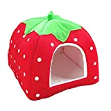 Pet Nest House Cosy Cotton Pet Bed Foldable Comfortable Light Weight Washable Strawberry Shape pet Nesting Bed for Suitable for small and medium dogs and all cats