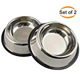 Mlife Stainless Steel Dog Bowl with Rubber Base for Small and Medium Dogs, Pets Feeder Bowl and Water Bowl Perfect Choice (set of 2) (M)