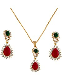 Stripes Presents Friendship Day Red And Green Colour Pendant Necklace With Earring For Girls & Women