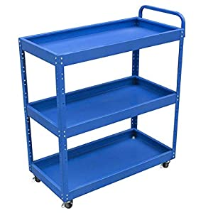 Rolling Cart 3 Tiers Storage Trolley, Four Wheels Portable Tool Storage Cart Trolley Auto Repair Parts Car zhaoyun   6