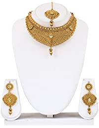 Mukh Gold Platted Chokker Necklacce Set With Austrian Diamonds And Earrings