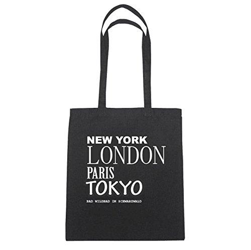 JOllify bagno Wild bagno in Foresta nera di cotone felpato B2371 schwarz: New York, London, Paris, Tokyo schwarz: New York, London, Paris, Tokyo