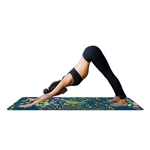 YISHU Mandala Yogamatte mit Tragetasche 1,5 mm dünn weich leicht faltbar Rutschfest aus Naturkautschuk Travel Fitness Gymnastik Outdoor Sport 180 x 68 cm Muster-C