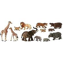 Miniland - Bote con animales salvajes con bebés, 12 figuras (25137)