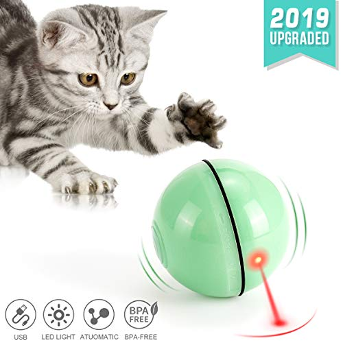 WWVVPET Interaktives Katzenspielzeug Ball mit LED-Licht, selbstdrehender 360-Grad-Ball, wiederaufladbares interaktives USB-Katzenspielzeug, zur Stimulierung des Jagdtriebs Lustiges Jäger-Spielzeug