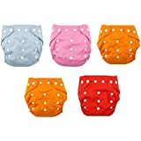 Toyboy New Adjustable Reusable Lot Baby Washable Cloth Diaper Nappies Pack Of 5 Diaper - Color May Vary