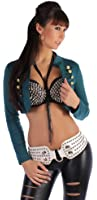 Damen Jäckchen Bolero Stoff Jacke Lang Arm in 6 Farben 34 36 38 One Size