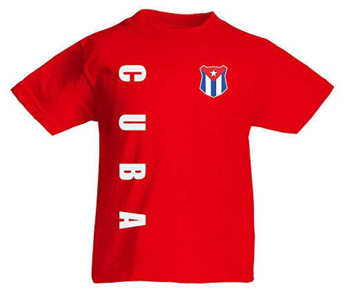 Kuba Cuba Kinder T-Shirt Trikot Wunschname Wunschnummer (Rot, 128)